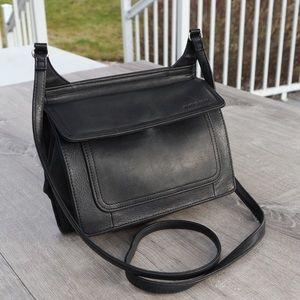 Fossil black built in walley crossbody purse bag